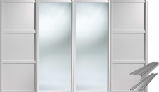 Shaker Style White 2 Panel & 2 Mirror Doors & Track Set to suit an opening width of 2387mm